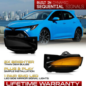 Sequential LED Side Mirror Smoked Turn Signal Lights For 19-21 Corolla Hatchback