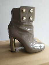 GUCCI GREY PATENT LEATHER ANKLE BOOTS 36