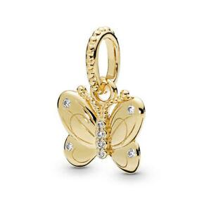 New European Golden Cz Charm Beads Pendant Fit Sterling Bracelet Chain Diy J-12