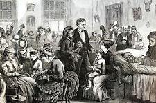 Bellevue Hospital LADIES VISITING SICK 1873 DOCTORS MEDICAL Engraving Matted