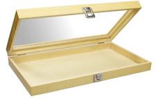 Jewelry Organizer Box Natural Wood Glass Top Display Case Storage Boxmetal Clasp