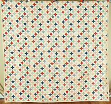 CHEERY Vintage 40's Periwinkle Hummingbird Cheater Cloth Antique Quilt!