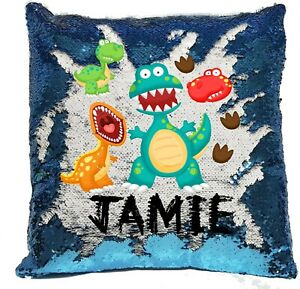 Personalised Dinosaur Reveal Sequin Cushion Cover - Boys/Girls - Blue/Pink -