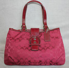 New COACH East West EW SOHO Signature Crimson Tote Bag Handbag Purse F18750
