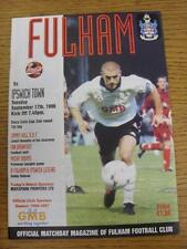 17/09/1996 Fulham v Ipswich Town [Football League Cup] . Item in very good condi