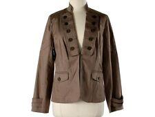 Women Trina Turk Khaki Sarge Military Jacket Size 12 LN
