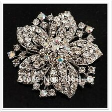 Beautiful Large Silver &  AB Crystal Flower Wedding Party Brooch Pin C31