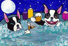 13x19 BOSTON TERRIER Hot Tub Signed Dog Art PRINT of Original Painting by VERN