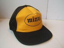 Midas Snapback Trucker Hat Stained Black Yellow Vintage Auto Repair Work Cap