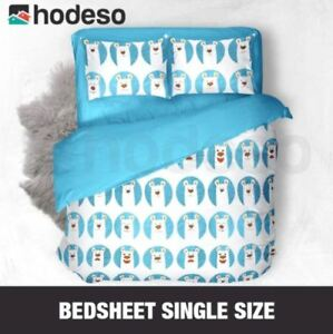Hodeso Bedsheet Cute Bear Single Size With FREE Pillow Case (Blue)