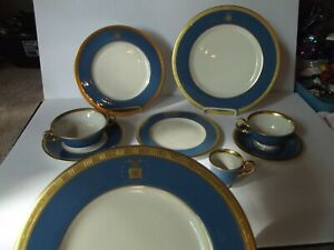 9 pc Plates cups bowl, Gold & Blue USAF United States Air Force Castleton China