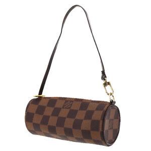 LOUIS VUITTON Papillon Mini Pouch Bag Damier Leather Brown N51303 Auth #TT419 Y