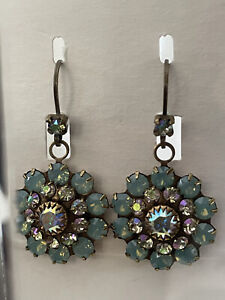 Liz Palacios X-large Dangling Flower Earrings-Pacific Opal AB Swarovski Crysta