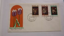 1973 NIUE STAMP ISSUE FDC, SET OF 3 CHRISTMAS FLOWERS ISSUE