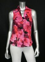 CACHE Pink/Red Floral Print Sleeveless V-Neck Collar Hook-Eye Front Blouse sz M