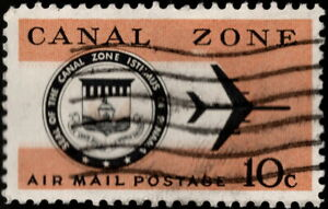 Canal Zone - 1968 - 10 Cents Jet Plane & Canal Zone Seal Airmail Issue #C48 F-VF