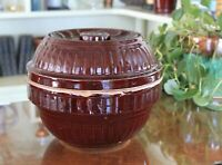 Rare Find Stoneware Covered Brown Glazed Pottery Bean Pot