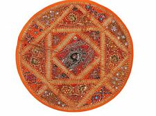 """Orange Round Decorative Floor Pillow Cover - Elegant Couch Bed Large Cushion 26"""""""