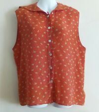 USED AQUASCUTUM RED SILK FLORAL SLEEVELESS SAILOR COLLAR SHIRT BLOUSE TOP 12 14