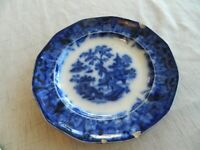 """T. Walker Scinde Ironstone Flow Blue 9 3/4"""" Plate Circa Mid 1800s           11-3"""