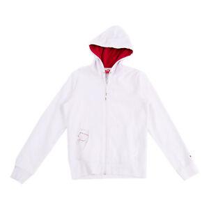 PUMA Hoodie Size M White Coated Logo Long Sleeve Zip Closure