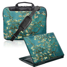 "TaylorHe 15.6"" Laptop Shoulder Bag Handles Strap & Skin Bundle Green Blossom 313"