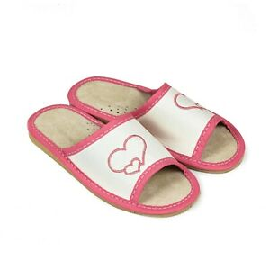 Kids Girls Real Leather Slippers Sandals Home Shoes Kapcie Hearts ALL Sizes