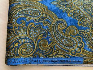 "Paisley Fabric 2 Yds 45"" W RJR Mardi Gras Jinny Beyer Blue Gold Cotton"