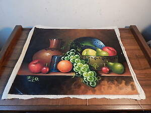UNFRAMED SIGNED MEXICAN STILL LIFE PAINTING ON CANVAS INTERNATIONAL SALE