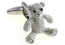 Men's Silver Tone Bear Novelty Suit Cufflinks