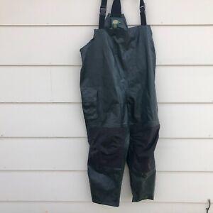 Cabela's Green Heavy Polyvinyl RAIN Bib Overalls Fishing Boat Coat Sz Men's 3XL