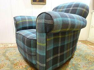 Art Deco 1920's Club Chair in a Tartan Fabric
