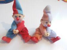 """Pair Lot of 2 Vintage Hugger Clip On Clowns 5"""" K.W."""