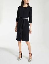 MAX MARA - Biacco - Crepe Wool Black Dress size 14 US / 16 UK $1090 NEW