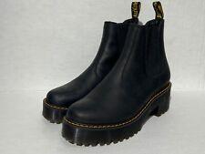 Dr Martens Rometty Doc Chelsea Women Platform Black Leather Boots Size 8 NEW