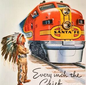 1948 Santa Fe Rail Travel Transcontinental Streamliner Super Chief  Print Ad