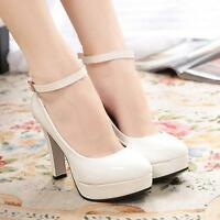 Women Ladys Round Toe Ankle Strap Block High Heel Pumps Court Party Shoes Sandal
