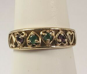 10K Yellow Gold, Amethyst & Emerald Ring 1.9g. Size 5.50. Signed AAJ (B01122021)