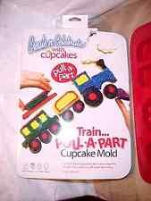 NEW Silicone Mold Train Cake Pan Pull Apart Locomotive Cars Cupcake Jello New