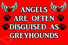 ANGELS ARE OFTEN DISGUISED AS GREYHOUNDS, Dog Novelty Fridge Magnet - Gift
