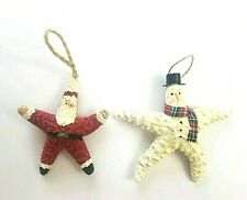 Lot of 2 Vintage Starfish Christmas Ornaments  Santa Claus and Snowman