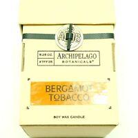 Archipelago Botanicals Bergamot Tobacco Glass Jar Candle Soy Wax 5.25oz New OB