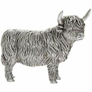 LEONARDO SILVER RELECTION HIGHLAND COW DECORATION ORNAMENT