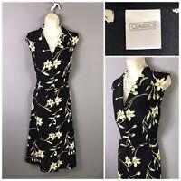 Classics Black Floral Sleeveless Dress UK 18 EUR 46 US 14