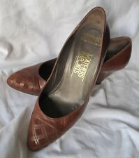 Brown 100% LEATHER & SUEDE Court SHOES Cone heel Mathers Imports Size 37 Classic