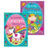 CHILDREN'S COLOURING Book Books Mermaid / Unicorn  Fun White Page 100gsm 2 x A4