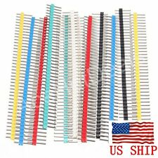 10PCS Multicolor 2.54mm 40Pin Color Male Single Row Pin Header for Arduino DIY