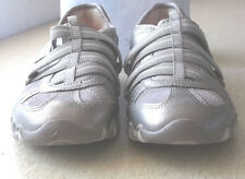 Skechers Bikers Slip-On Hook And Loop Womens Shoes Leather Grey 22367 Size 5 1/2