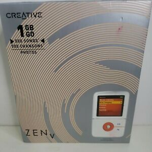 Creative Zen V 1GB White And Orange Digital Media Player new open box