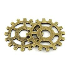 39344 40Pcs Antique Bronze Tone Alloy Round Gear Charms Pendant 25*25mm